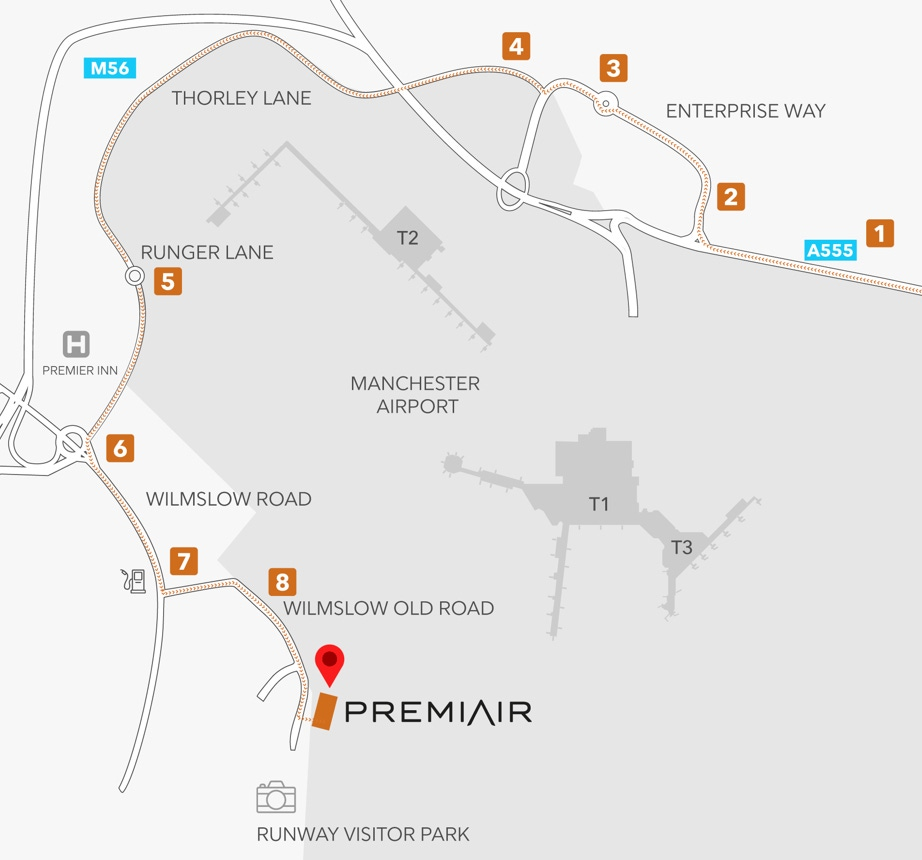 Directions to Premiair via A555